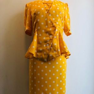 Vintage Yellow Polka Dot Peplum Skirt Suit